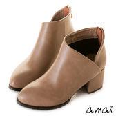 amai心型交叉側V粗跟踝靴 杏