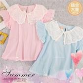 (大童款-女)緹花領圍綁帶棉麻短袖上衣-2色(290043)【水娃娃時尚童裝】