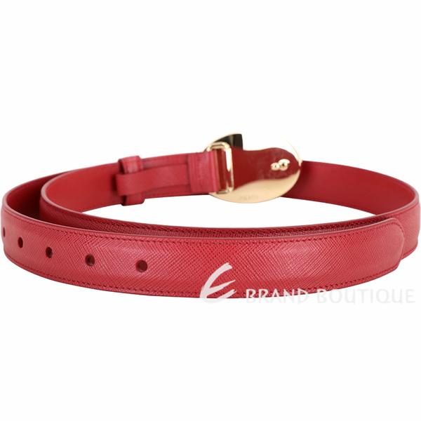 PRADA Saffiano 橢圓標誌防刮牛皮腰帶(紅色) 1940521-54