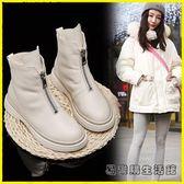 短靴女鞋冬季馬丁靴加絨百搭前拉鏈短筒瘦瘦靴子雪地