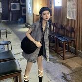 馬甲女寬松中長款大口袋水洗牛仔馬甲外套女季韓版百搭無袖馬夾上衣潮【快速出貨】
