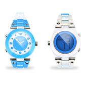 colore TWINS時尚炫彩數位指針錶M03藍色配白色