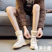 新款秋季新款正韓毛線口短靴女手工舒適軟底百搭女靴森女系馬丁靴