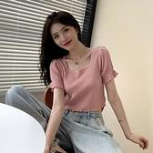 針織衫 皮粉色t恤女短袖2020年新款夏法式方領泡泡袖冰絲針織衫短款上衣「草莓妞妞」