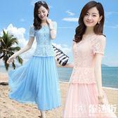 短袖蕾絲度假沙灘中長裙網紗連衣裙兩件套裝女夏 魔法街