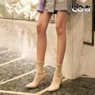 古尖頭馬丁靴女秋冬粗跟瘦瘦百搭短靴子韓版高跟鞋彈襪靴女   LX 韓流時裳