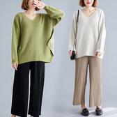 針織上衣闊腿褲套裝大碼女裝胖mm秋冬2019新款寬鬆顯瘦毛衣兩件套