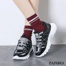 PAPORA運動學生風鬆緊帶休閒老爹鞋K8850黑色(偏小)