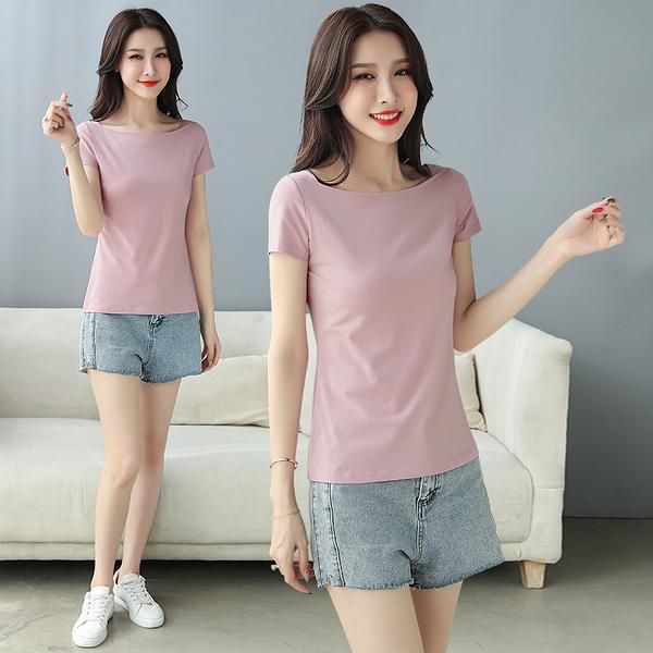 T715# 白色t恤女短袖一字領夏季韓版修身百搭上衣 &小咪的店&