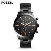 FOSSIL Townsman 雙眼計時個性大錶面黑色不鏽鋼手錶 男 FS5379