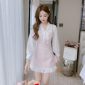 雪紡洋裝 秋季新款韓版法式氣質小個子 雪紡長袖拼接收腰顯瘦連身裙女 店慶降價