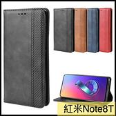 【萌萌噠】Xiaomi 紅米 Note8T  復古紋商務款 錢包式側翻皮套 可插卡磁吸 全包軟殼 手機殼 手機套