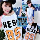 克妹Ke-Mei【AT46562】NESS 85歐美字母圖印撞色袖寬鬆T恤洋裝