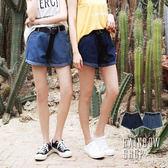 率性反摺牛仔短褲(附皮帶)-N-Rainbow【A99155-31】