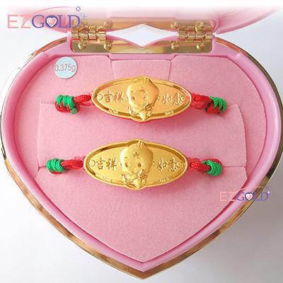EZGOLD-豎琴天使- 彌月金飾音樂禮盒 (0.10錢)