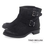 Tino Bellini義大利進口啞光麂皮雙釦帶低跟短靴_黑 B69022 歐洲進口