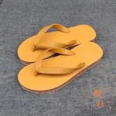 拖鞋男人字拖橡膠厚底耐磨防滑防臭夾腳沙灘拖鞋【橘社小鎮】