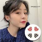 雙色愛心方格耳環 韓國氣質 耳環 可加費...
