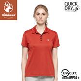【Wildland 荒野 女 彈性雙色POLO針織上衣《橘紅》】0A81615/POLO衫/運動衣/休閒衫
