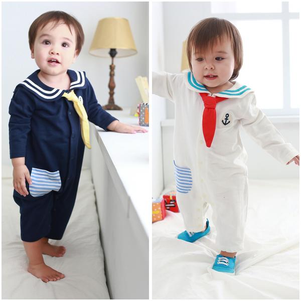 長袖連身衣 純棉 水手領 海軍風 造型服 男寶寶 女寶寶 爬服 哈衣 Augelute Baby 37011