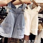 兒童牛仔背帶短褲夏季韓版女童寶寶薄款洋氣大口袋吊帶褲牛仔褲子【小艾新品】