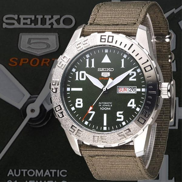 SEIKO 野地戰將百米5號24石機械男錶-軍綠(SRP751K2)