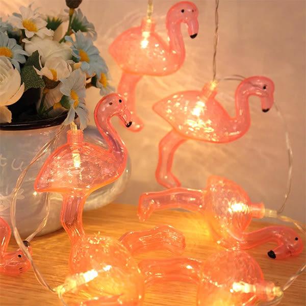 (現貨)INS 紅鶴火烈鳥燈飾 火烈鳥串燈 家裡布置 開店道具【娜娜香水美妝】