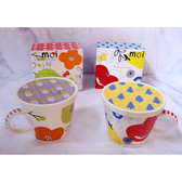 日本製小倉陶器加藤真治附蓋馬克杯蘋果小花朵-達可家居