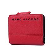 美國正品 MARC JACOBS 黑色LOGO防刮皮革釦式短夾-紅色【現貨】