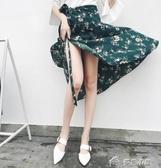 一片式半身裙春夏新款長裙系帶雪紡碎花裹裙不規則防曬沙灘裙 樂芙美鞋