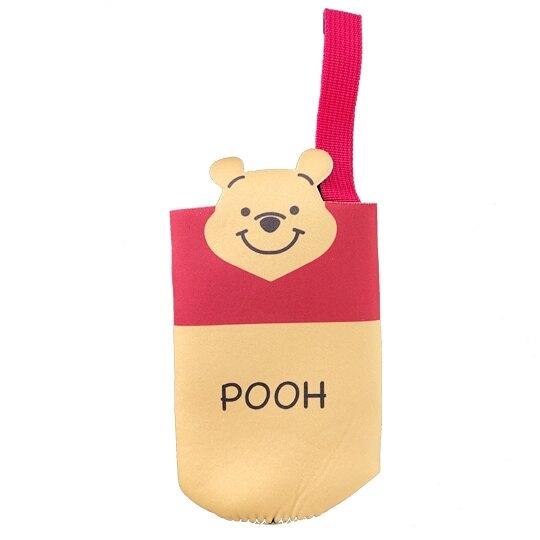 小禮堂 迪士尼 小熊維尼 潛水布水壺袋 環保杯袋 飲料杯袋 (黃紅 大臉) 4973307-48394