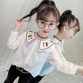 萬聖節狂歡   女童秋裝長袖襯衫2018新款韓版兒童春秋刺繡白色洋氣娃娃衫上衣潮  mandyc衣間