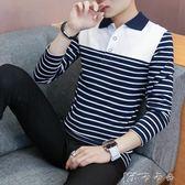 季長袖T恤男韓版純棉翻領體恤襯衫領男裝衛生衣Polo打底衫衣服 卡卡西