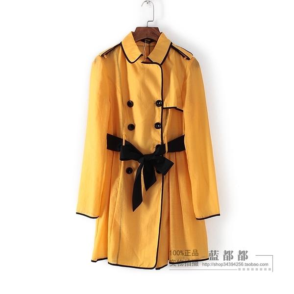 [超豐國際]情春秋裝女裝桔色中長款雙排扣系帶風衣 25049(1入)