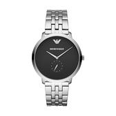 【Emporio Armani】義式格紋波狀簡約時尚腕錶-鋼帶銀/AR11161/台灣總代理公司貨享兩年保固
