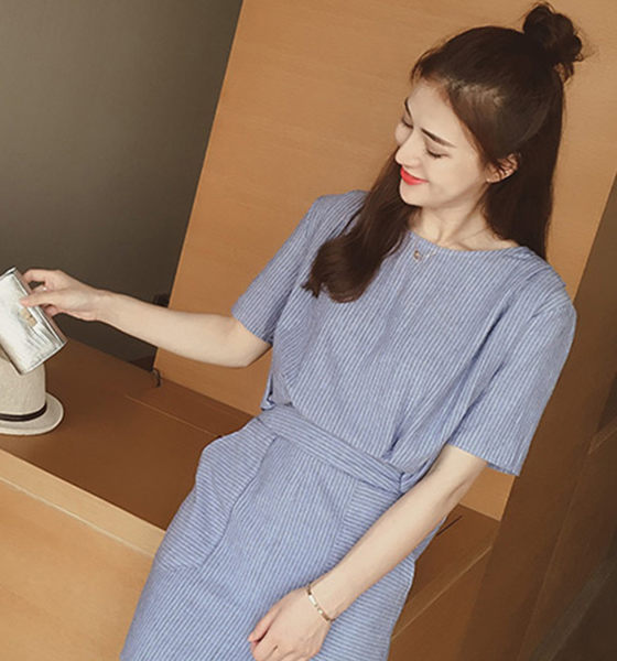 Fabulous!!】韓版簡約細條紋假兩件連身洋裝