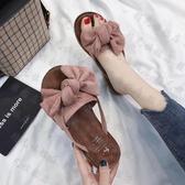 夾腳拖鞋 夏季新款韓版百搭平底蝴蝶結人字拖鞋女時尚外穿夾腳沙灘涼鞋-快速出貨