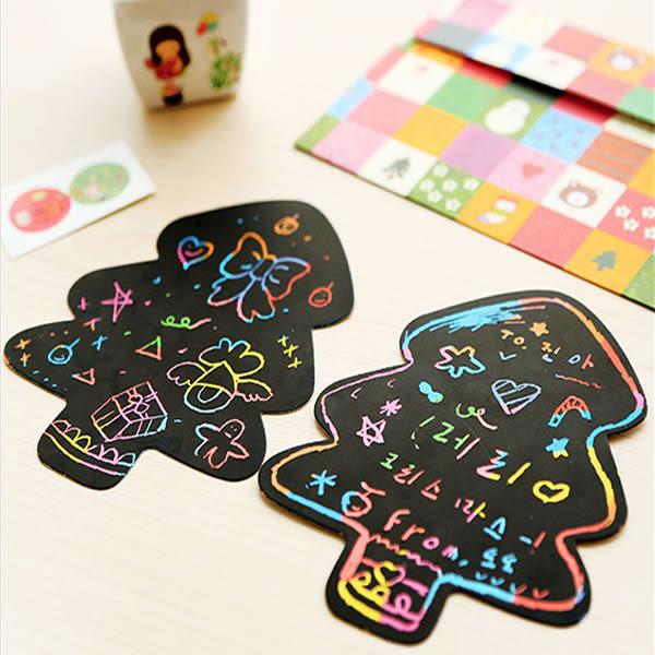 【BlueCat】聖誕節雪人愛心圖案彩色手作聖誕卡片/DIY刮畫信封組(附貼紙)
