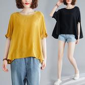 棉麻襯衫上衣大尺碼棉衫/T恤新款文藝大尺碼寬鬆純色休閒百搭上衣