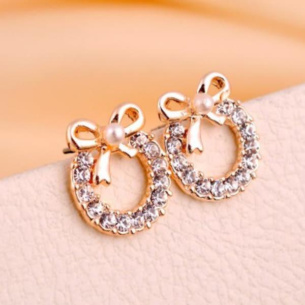 新款 珍珠 蝴蝶結 耳釘 韓國 鑲鑽 耳飾 韓版 精緻 耳環