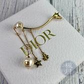 BRAND楓月 Christian Dior CD 迪奧 珍珠綴星星LOGO耳環 耳飾 耳釘 耳針 小蜜蜂 垂墜式