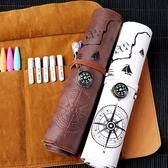 藏寶圖文具盒初中復古簡約多功能彩鉛卷筆袋