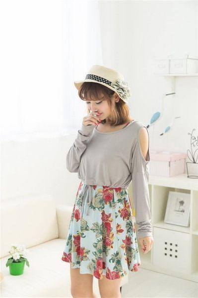 *漂亮小媽咪*花朵 莫代爾 兩件式 哺乳裝 裸肩 罩衫 孕婦裝 長袖 哺乳洋裝 BFC0131AL