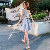 VK精品服飾 韓國風名媛蝴蝶結露背性感簡約無袖洋裝