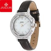 JULIUS 聚利時 蜜亞公主滿鑽立體鏡面皮帶腕錶-黑×白面/36mm 【JA-631A】