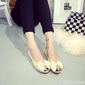 魚嘴涼鞋 甜美百搭夏季魚嘴女鞋蕾絲網紗布黑色平底鞋工作鞋大碼孕婦鞋涼鞋 圖拉斯3C百貨