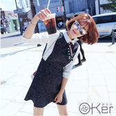 秋季學院風顯瘦假兩件拼接荷葉邊連衣裙 S-3XL O-Ker 歐珂兒 LLB8806 (LLB828)-c