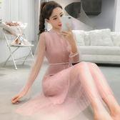 套裝 早秋裝女有女人味的連身裙針織馬甲網紗裙子加外搭兩件式 糖果時尚