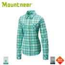【Mountneer 山林 女 彈性抗UV格子長袖襯衫《湖水綠》】31B06/防曬長袖/薄襯衫/防曬長袖