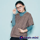 【ohoh-mini孕婦裝】經典格紋可拆式連帽孕婦上衣